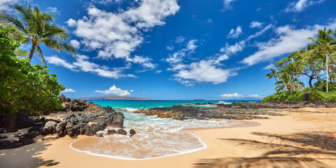 panorama of a perfect morning at Secret Beach (also known as Makena Cove) on the island of Maui, Hawaii.  Blue sky, turquoise water and palm trees
