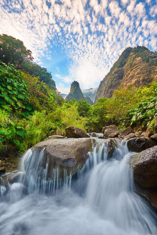 A river scene in the lush and beautiful Iao Valley on the island of Maui.  The famous Iao Needle can be seen in the distance and a long exposure of the river
