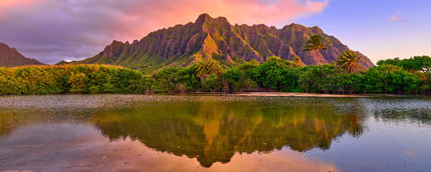 sunrise panorama photograph of kualoa mountains on the hawaiian island of Oahu.  Fine art panoramic photography by Hawaii artist Andrew Shoemaker