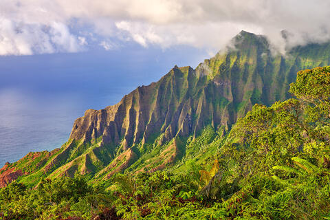a fine art photograph of the beautiful Kalalau Valley on the Hawaiian island of Kauai along the Na Pali Coast.  Hawaii Photography by Andrew Shoemaker