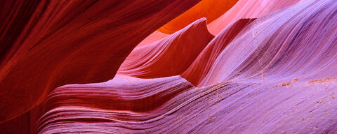 abstract panorama of sandstone canyon walls in lower antelope canyon near Page, Arizona in the American Southwest.  Nature Photography by Andrew Shoemaker
