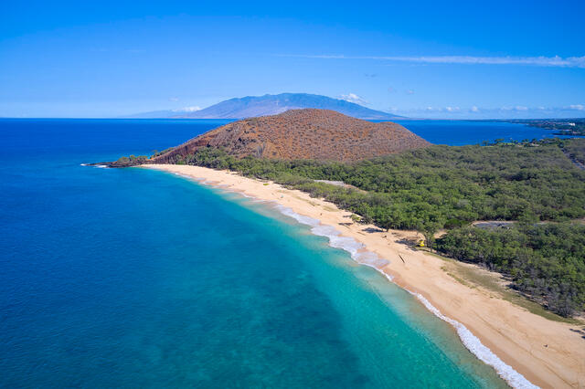 big beach, makena, makena state park, aerial, drone, blue, wailea,
