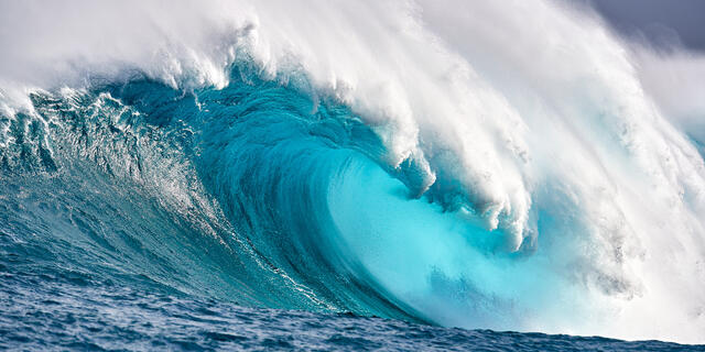 panoramic image of the biggest wave in Hawaii,  Jaws located on the island of Maui reaches heights up to seventy feet.