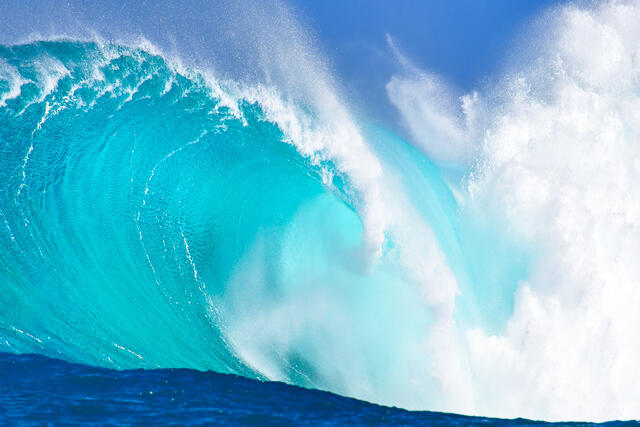 incredible colors of the biggest wave in Hawaii Jaws on the north shore of the island of Maui.  Hawaii Fine Art by Andrew Shoemaker