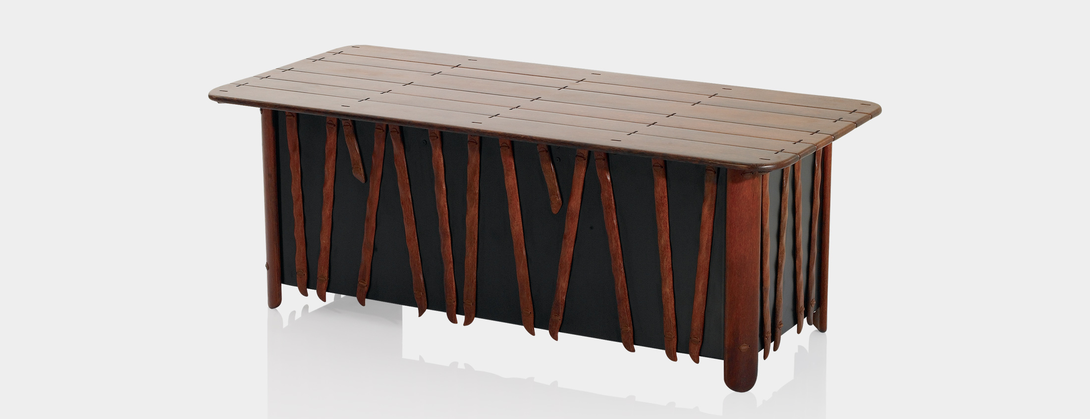 PRODUCT DESCRIPTION Palmwood unit with leather bindings. Supported with a wooden frame. Decorated with traditional grass weaving...
