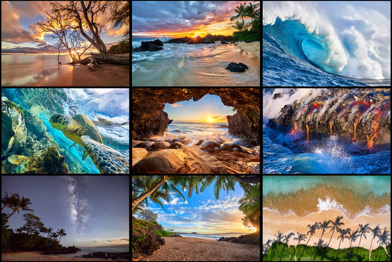 a collage of some of the top selling fine art photography images of Hawaii photographer Andrew Shoemaker