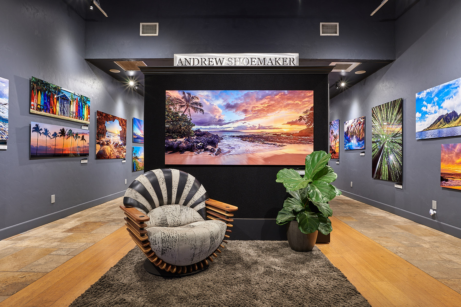 maui art gallery entrance of the Andrew Shoemaker Fine Art Photography Gallery showcasing the luxor chair by pacific green and the photograph Burning Secret