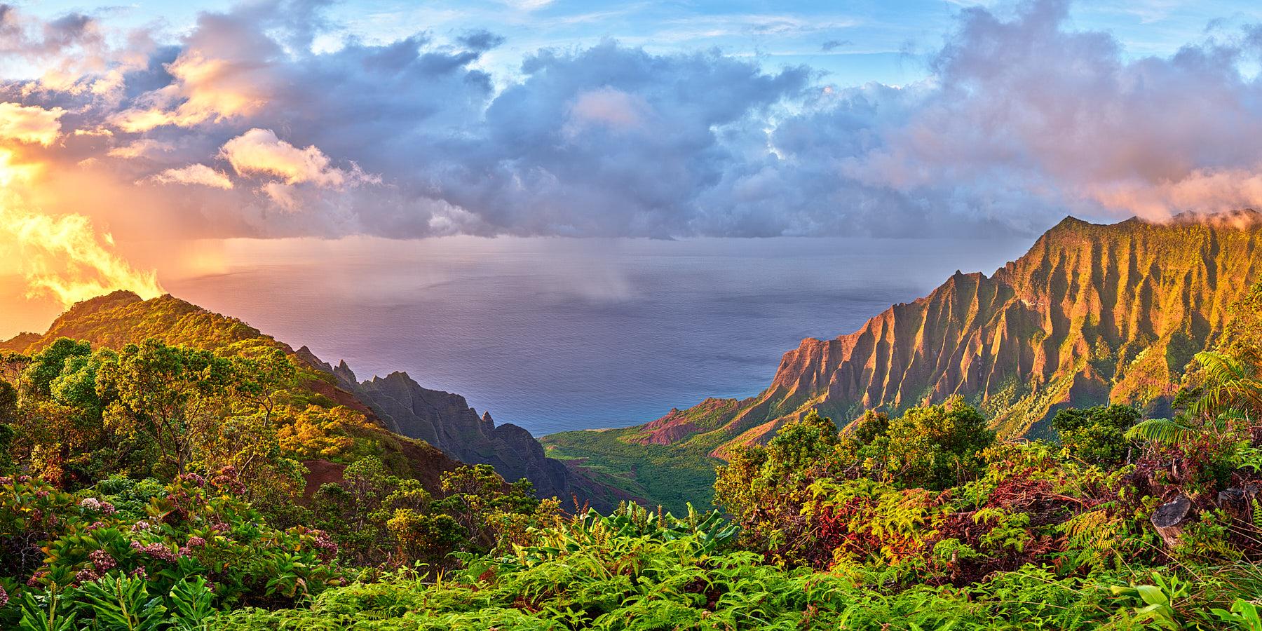 panoramic sunset captured at the beautiful Kalalau Valley along the Na Pali Coastline of the Hawaiian island of Hawaii