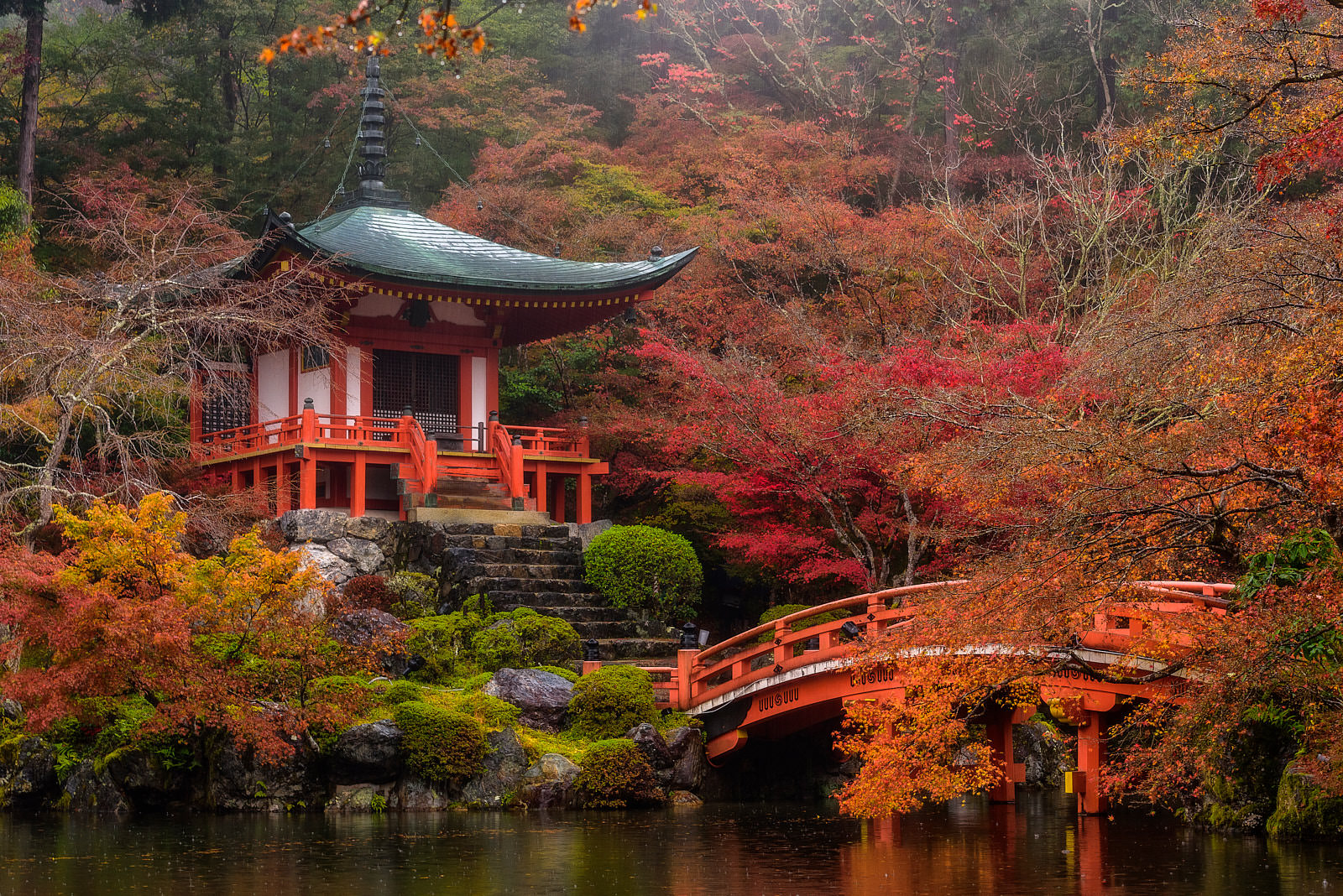 Fall colors at Daigo-ji temple in Kyoto, Japan reflecting on the water