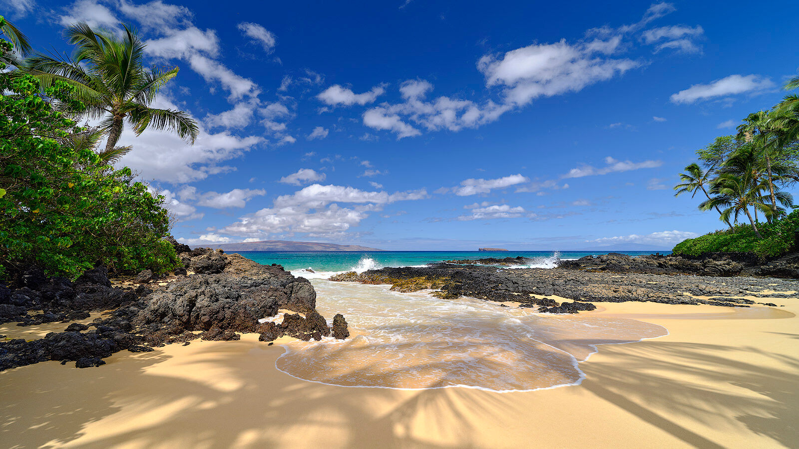 panoramic view of Secret Beach on the island of Maui with the shadows from the palm trees in the foreground as a wave comes in