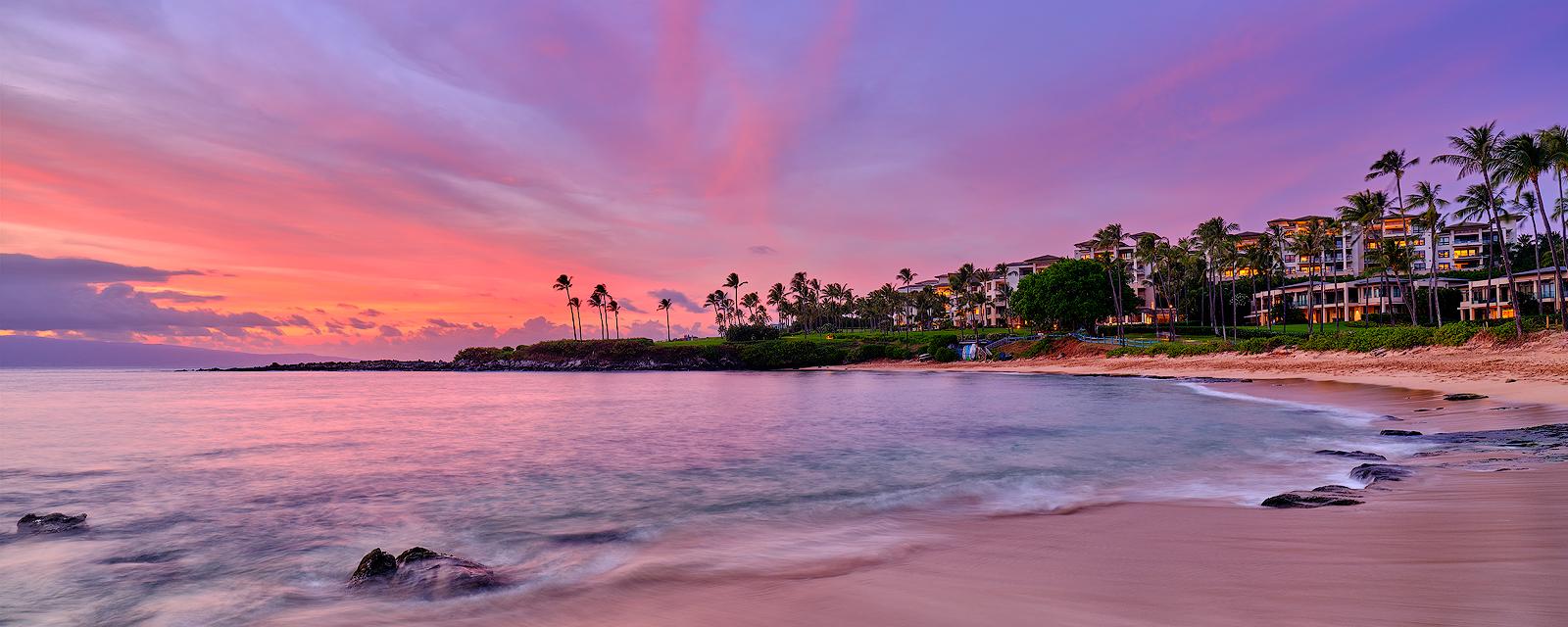 a beautiful sunset panorama at Kapalua Bay Beach on the island of Maui, Hawaii.  Fine art Hawaii photography prints by artist Andrew Shoemaker