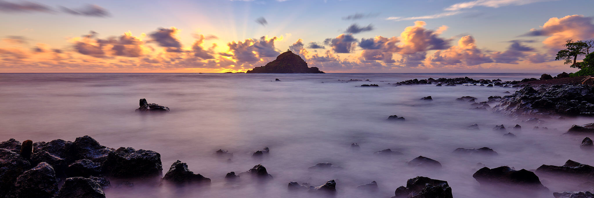 panorama of Koki Beach at sunrise near Hana, Hawaii on the island of Maui