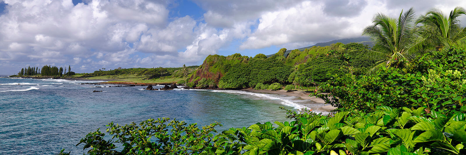 panoramic view of the picturesque Hamoa Beach near Hana on the island of Maui.  Fine art photograph by Andrew Shoemaker