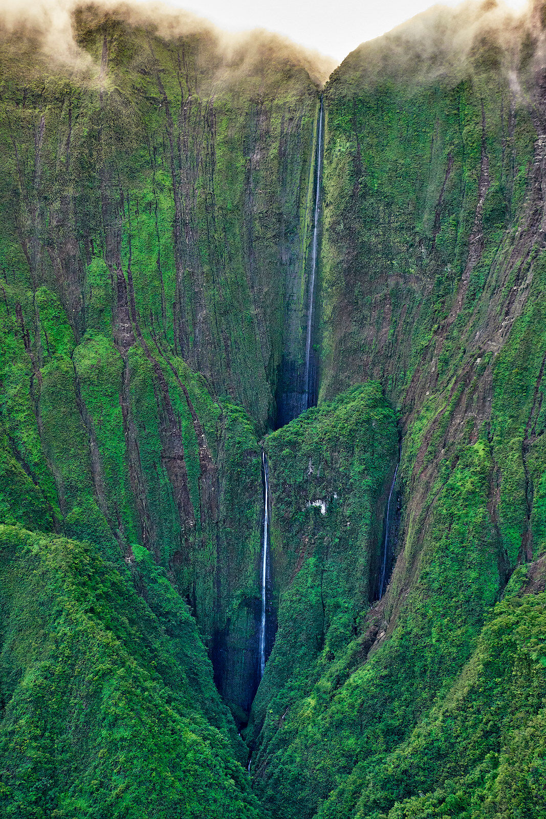 aerial view from a Helicopter of Honokohau Falls which is the tallest waterfall on the island of Maui