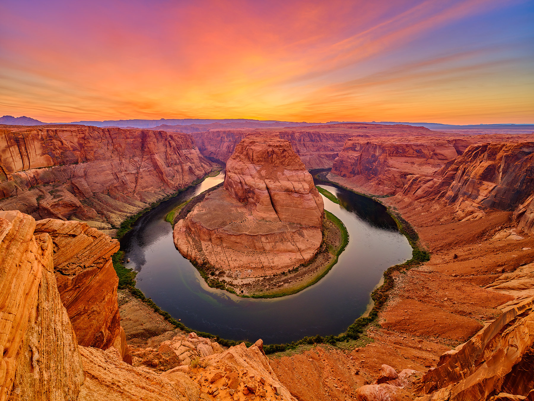a dramatic photograph of Horseshoe Bend in Page, Arizona at sunset in the American Southwest.  Fine Art Limited Edition Photography by artist Andrew Shoemaker