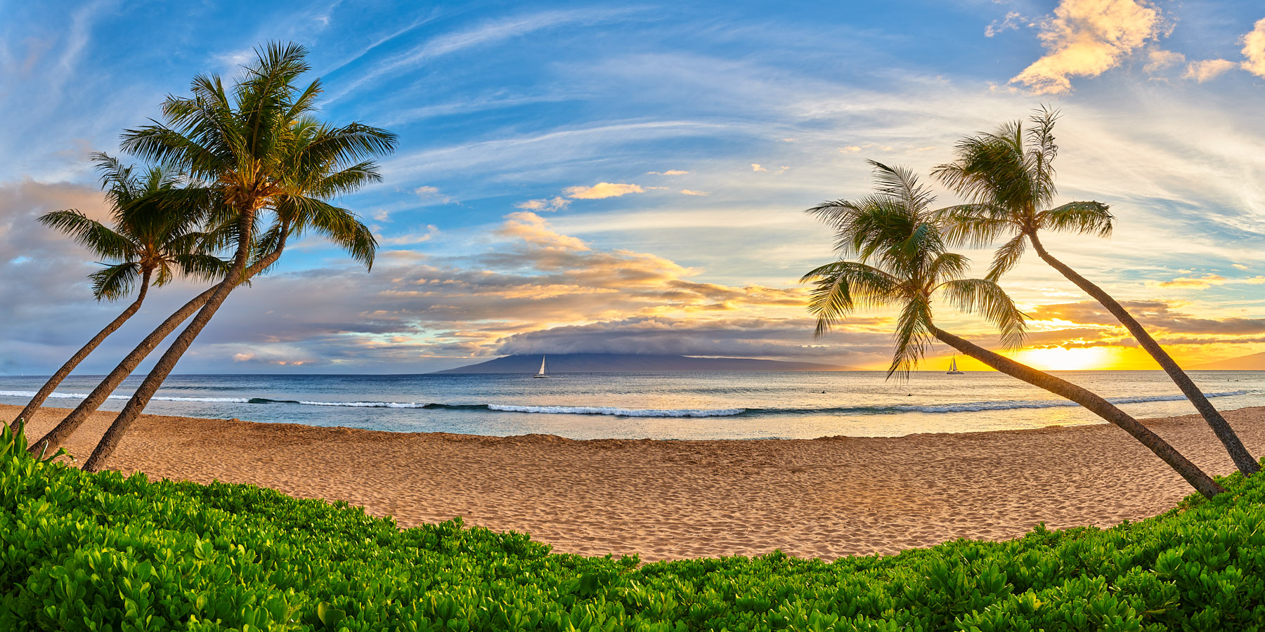 panoramic scene captured at the world famous Ka'anapali Beach on the Hawaiian island of Maui.  The scene features coconut palms, a surfer and a sailboat
