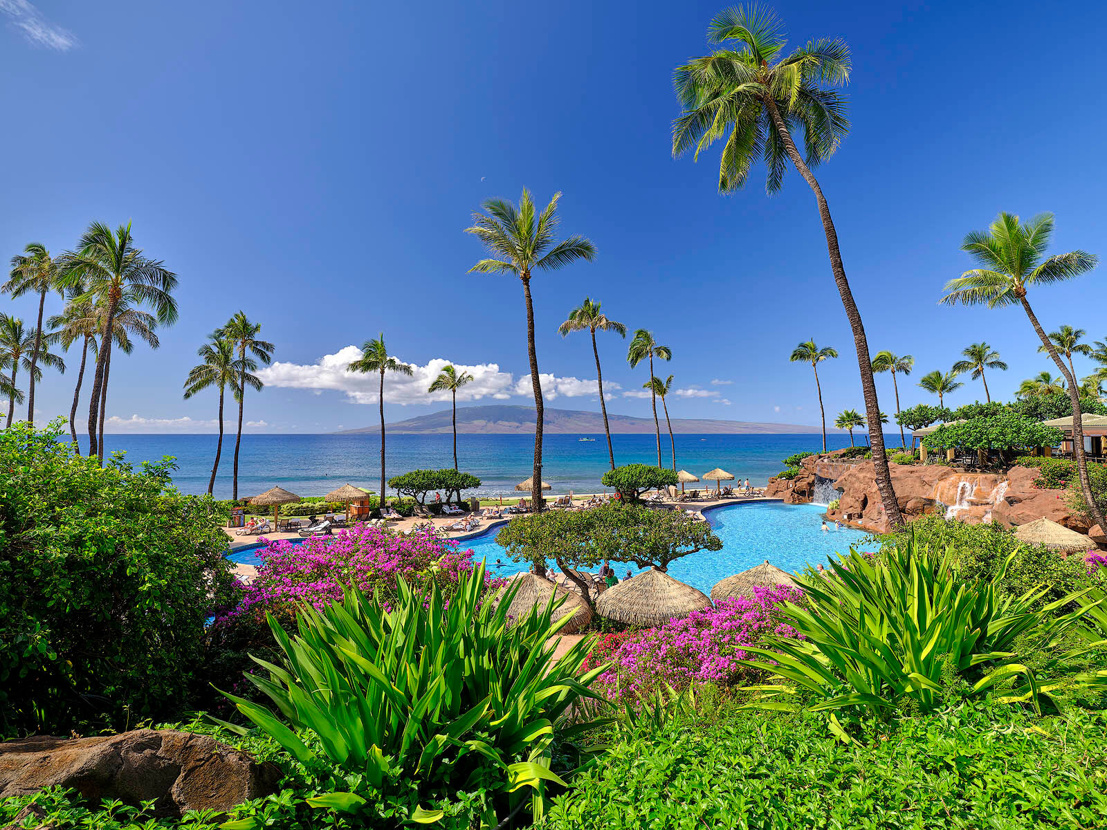 photograph at the Hyatt resort on Kaanapali Beach during the day with coconut palms, flowers, pools, waterfalls and the island of Lanai in the distance.