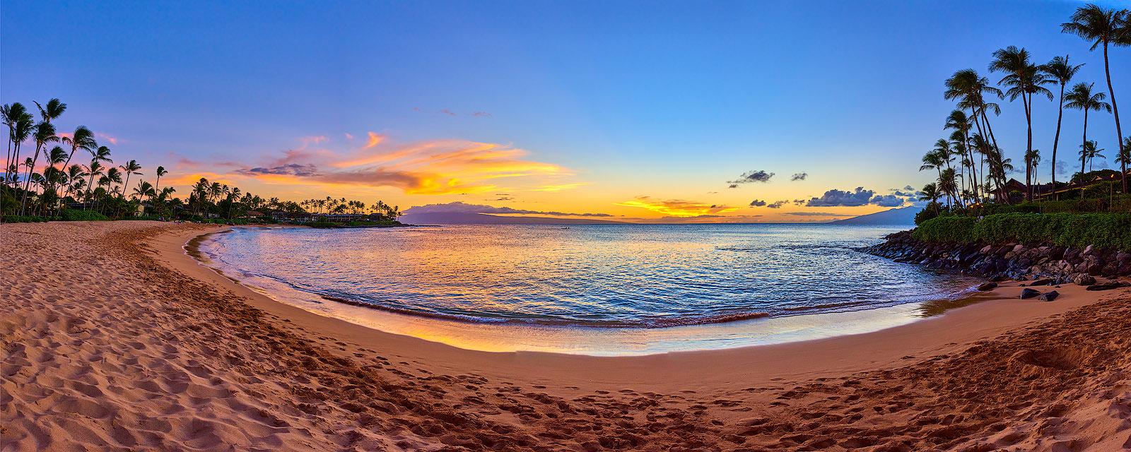 a beautiful sunset panorama of Napili Bay near Lahaina and Kaanapali on the island of Maui Hawaii.  Fine Art Hawaii Sunset picture by artist Andrew Shoemaker