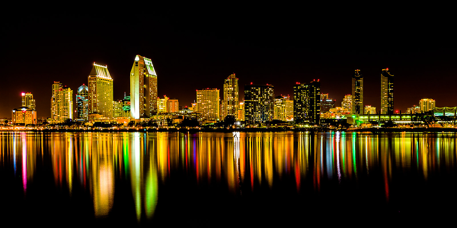 colorful long exposure photograph at night of downtown San Diego, California